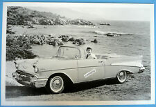 "1957 Chevrolet Convertible by the OCEAN 12 By 18"" Black & White Picture"
