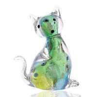 Handmade Glass Colorful Cat Ornament Art Glass Blown Animal Figurine Decor Gift