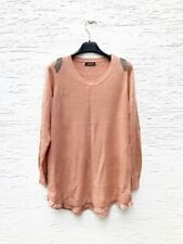 Jayley wool blend knitted top in peach with chain detail shoulder size UK 10