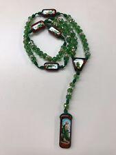Rosario de San Judas Tadeo cristal Verde hecho a mano