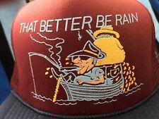 NOS Vtg FISHERMAN PISSING OFF BOAT  Funny Novelty Trucker Mesh/Foam Snapback Hat