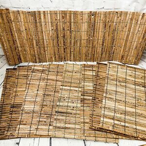Vtg Lot 8 Nautical Bamboo Reed Wood Placemats & Table Runner Tiki Bar Tropical
