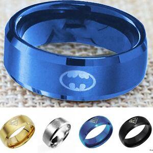 Fashion Titanium Men Boy Batman &Superman Symbol Stainless Steel Jewelry Ring
