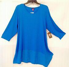 Vince Camuto Woman Plus Blue Blouse size 22/20/2X Asymmetrical Hem Top New $79