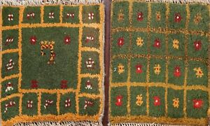 Set of 2 Geometric Hand-knotted Gabbeh Area Rug Tribal Oriental Wool 1x1 Square