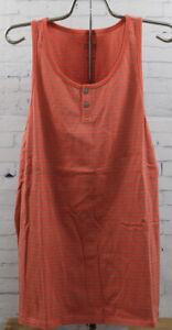 New Tavik Mens Echo Striped Tank Sleeveless Shirt Medium Coral