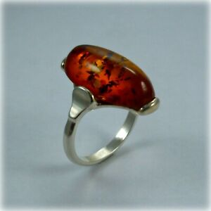 Sterling Silver Amber Dress Ring