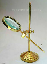 Marine Vintage Brass Table Magnifier Magnifying Reading Glass W Stand