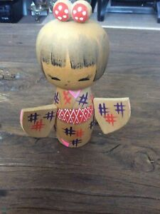 Vintage Japanese Kokeshi Wooden Signed Doll.