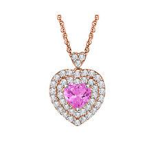 "1.10ct Pink Sapphire 10k Rose Gold Fn Heart Shape Women's Pendant 18"" Necklace"