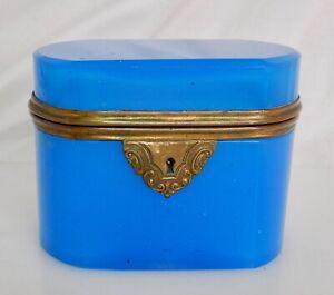 Antique French Blue Opaline Glass Trinket Box Casket - 82944