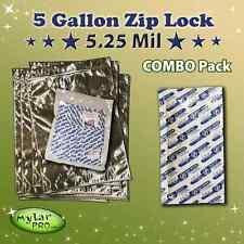 10 5 Gallon 5.25 Mil Zip Lock Mylar Pro Bags 20x30 + 2000CC Oxygen Absorbers
