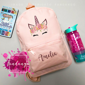 Personalised Unicorn Backpack - Any Name Kids Childrens Girls Back To School Bag