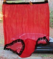 SEXY Vintage RED Sheer Nylon Pleated Chiffon STRIPED Sissy Panties Size 7 UNWORN