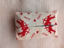 Tissue Packet Cupid Love Hearts Red White Pocket Holder Fabric Cover Handmade