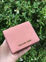 NWT Michael Kors JET SET TRAVEL CARRYALL Card Case Wallet In Peach
