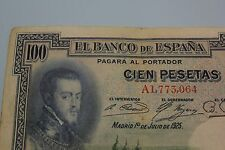 1925 100 PESETAS PHILIP II SERIE A SELLO EN SECO REPUBLICA BANKNOTE SPAIN
