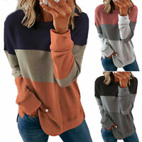 Women Casual Colorblock Long Sleeve T Shirt Blouse Loose Pullover Tunic Tops Tee