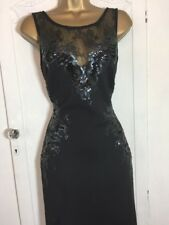 Lipsy Maxi Dress Black Sequins 10 Christmas Party Cruise Prom Sexy New