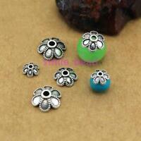 100pcs Tibetan Silver Metal Petal Bead Caps Spacer For DIY Jewelry Making 6-10mm