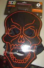 NEW Halloween Skeleton Night GLO GLOW Gemmy Adult MASK Flashing Steady Hooded