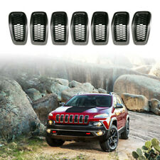 Gray Frame+Black Mesh Grille Inserts Cover Accessories fit Jeep Cherokee 2014-18