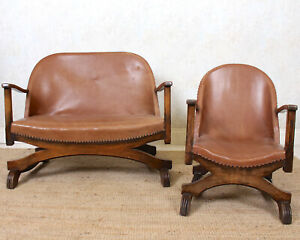 Antique Oak Sofa and Chair Carved Armchair Bucket Seat Arts & Crafts Petite