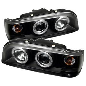 Volvo 93-97 850 Black Dual Halo LED Projector Headlights w/ Amber Signal Lamp
