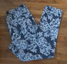 Marks and Spencer Collection Peg Womens Black/White Floral Leggings Size 8 R