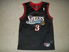 Nike sewn Allen Iverson Philadelphia 76ers Sixers Black Youth Boys Medium Jersey