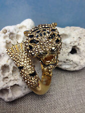 TIGER LION WOMENS GOLD BANGLE CUFF BRACELET BEAUTIFUL RHINESTONES & BLACK ENAMEL