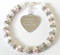 Personalised Engraved Flower Girl Wedding Favour Jewellery Bracelet Child Gift