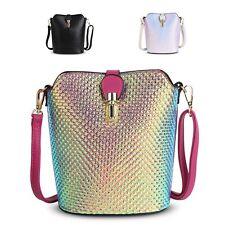 Ladies Metallic Holographic Shoulder Bag Clasp Cross-body Saddle Handbag G8203A