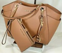 Michael Kors Jet Set  Chain Brown Saffiano Leather Tote Shoulder Bag Wallet Set