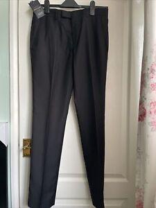 New River Island Black Slim Fit Suit Trousers 30R Waist 32 Leg Prom Wedding