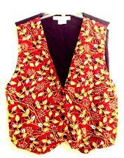 Ellen Ashley Vintage Womens Vest S Black Beaded Floral Tuxedo Style Tie Back