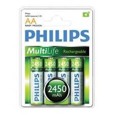 Philips 4 AA 2450mAh MultiLife Rechargeable Batteries - Battery Pack of Four
