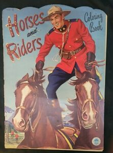 1951 HORSES & RIDERS Coloring Book -Merrill Publishing Co 10.5x15 EXCELLENT COND