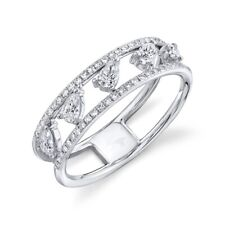 14K White Gold Pear Diamond Ring Open Band Womens Anniversary Right Hand 0.53Ct