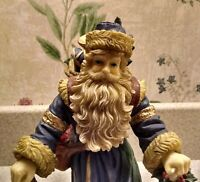 Old World Santa Father Christmas Resin Figurine with Gifts and Lantern