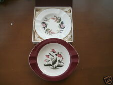 WEDGWOOD BONE CHINA ASH TRAYS X 2 HATHAWAY ROSE BOXED & MAYFIELD POPPIES VGC
