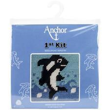 "Anchor-1st Kit Counted Cross Stitch Kit, Orca Whale, Fin. Size 3 3/4"" x 3 3/4"""