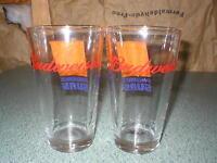 "Set of 2 Budweiser Phoenix Suns Beer Glasses Tumblers 5 3/4"" Tall"