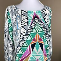 Pink Owl Apparel 3/4 Sleeve Top Blouse Size M  Multi-color, Abstract Print