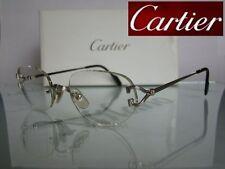 Auténtico C Decoración Clásico Cartier Platino Sin Montura Gafas Gafas Marcos 53