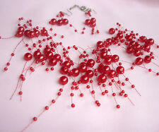 FLOATING RED FAUX PEARL NECKLACE  AND  EARRINGS  SET