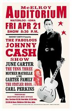 Country: Johnny Cash at the McElroy Auditorium in Iowa Concert Poster 1967