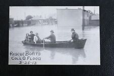 RPPC B/W March 25, 1913 Flood Rescue Boats Columbus Ohio Postcard VTG