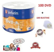 100 DVD -R VERBATIM VERGINI VUOTI 16X Advanced dvdr 4.7 GB +100 BUSTINE PVC
