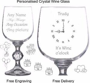 Personalised Crystal 9oz Wine Glass, Birthday, Christmas Gift, Its Wine O'clock